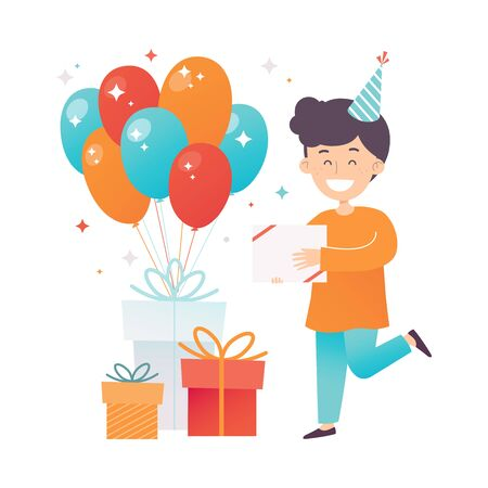 Boy in an orange shirt with a gift. Vector illustration. Ilustrace