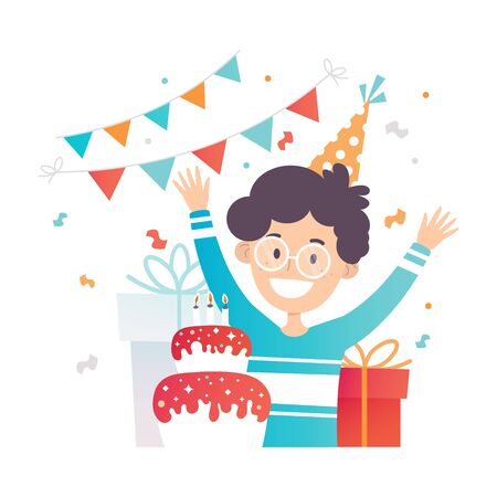 Teenager in glasses rejoices on the birthday cake. Vector illustration.