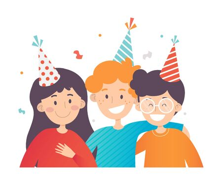 Children in striped party hats. Vector illustration. Reklamní fotografie - 133225222