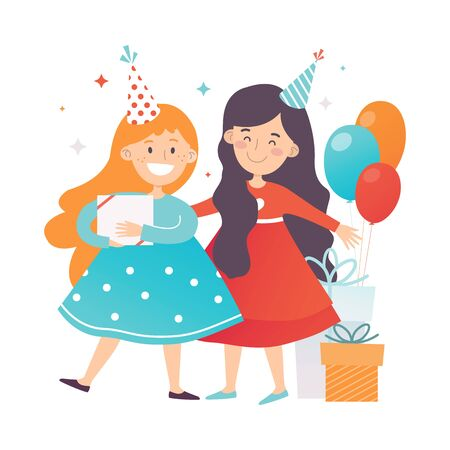 Two girls in dresses and party hats. Vector illustration. Reklamní fotografie - 133224653
