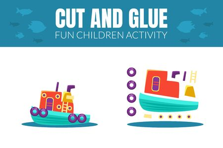 Task for the children. Cut and glue the steamer. Vector illustration.