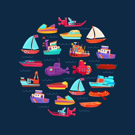 Pattern from different boats and ships. Vector illustration.