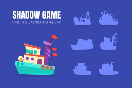 Ship and shadows of different boats. Vector illustration. Illustration