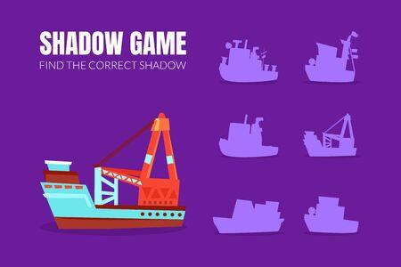 Cargo ship and boat shadows. Vector illustration. Illustration