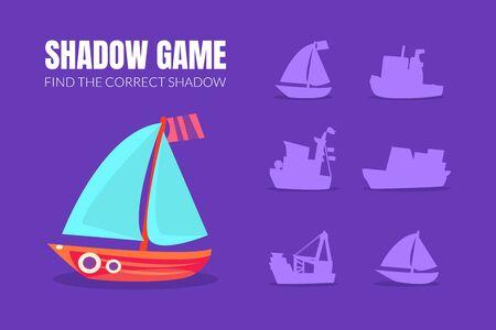 Sailboat and shadow of boats. Vector illustration.