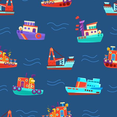 Pattern from different boats. Vector illustration on a blue background.  イラスト・ベクター素材