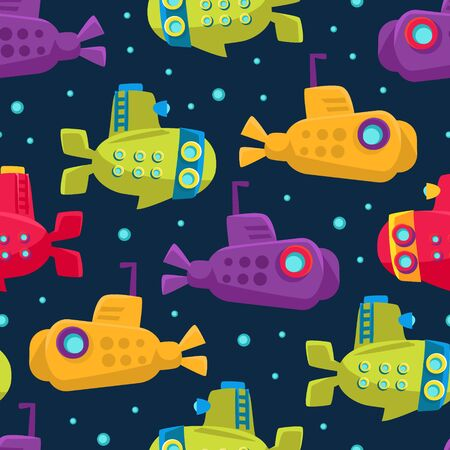 Submarine pattern. Vector illustration on a dark blue background. Illustration