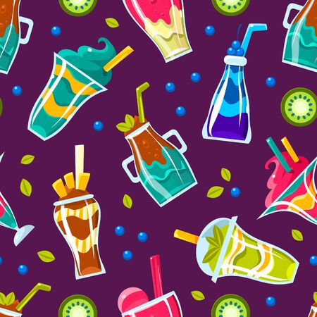 Pattern of different cocktails in glasses and bottles. Vector illustration. Banque d'images - 134691468
