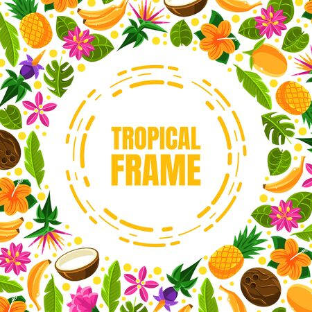 Orange circle outline with the inscription Tropical frame. Vector illustration. Stok Fotoğraf - 133253100