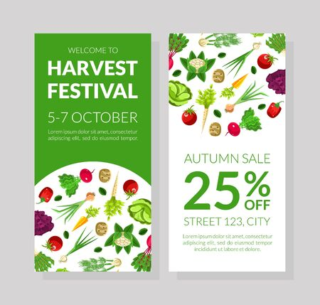 Flyer for the harvest festival. Vector illustration with green background.