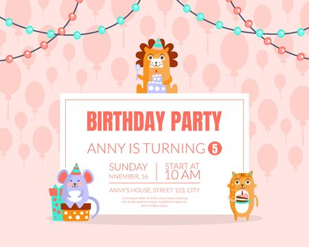 Pink invitation with background of balloons for a birthday party. Vector illustration. Reklamní fotografie - 133225239