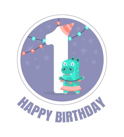 Blue circle with the number 1 for birthday decorations. Vector illustration.