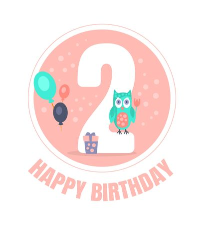 Pink circle with number 2 for birthday decoration. Vector illustration. Reklamní fotografie - 133224813