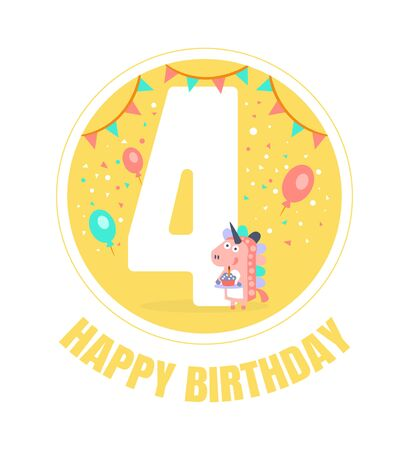 Yellow circle with the number 4 for a birthday. Vector illustration. Archivio Fotografico - 133224485