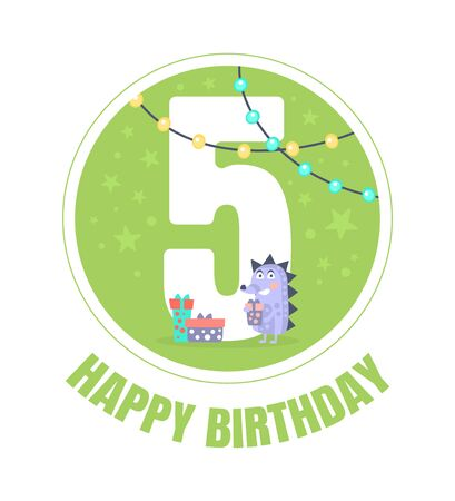 Green circle with the number 5 for birthday. Vector illustration.
