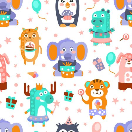 Birthday pattern of cute animals with cakes and gifts. Vector illustration.