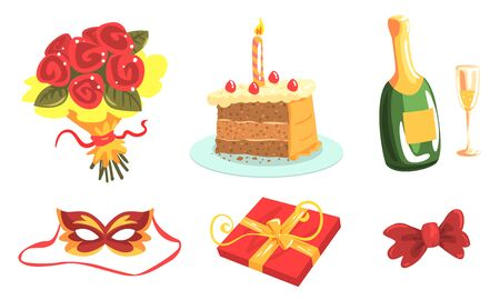 Anniversary Party Attributes, Birthday Or Wedding Vector Illustration Set Isolated On White Background Illustration