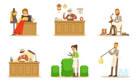 Men And Women In Different Handicraft Professions Vector Illustration Set Isolated On White Background Vector Illustration