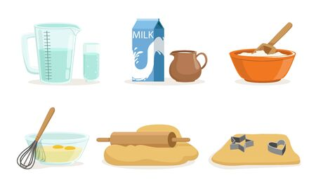 Ingredients And Cookware For Making Dough And Cookies Vector Illustration Set Isolated On White Background Illustration