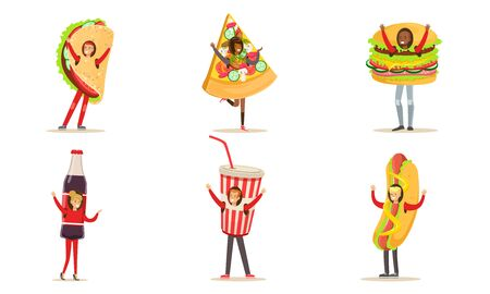 People Characters In Fast Food And Snacks Costumes For Menu Or Banners Vector Illustration Set Isolated On White Background Standard-Bild - 133312686