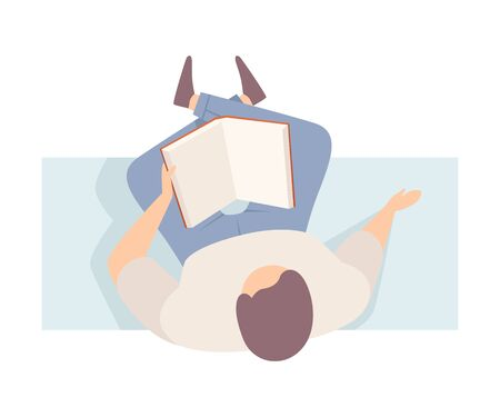 Man reads the real book, sitting on the bench, crossing the legs. Wearing casual, top view. Flat vector illustration, isolated on white background.