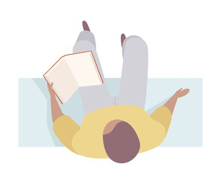 Man reading the textbook on the bench. Wearing casual, top view. Flat vector illustration, isolated on white background. Ilustração