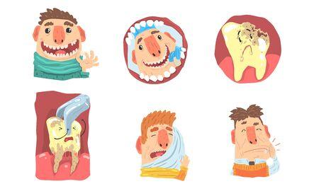 Mal de dents et visite à la clinique dentaire, ensemble d'illustrations de personnages de dessins animés drôles isolé sur fond blanc