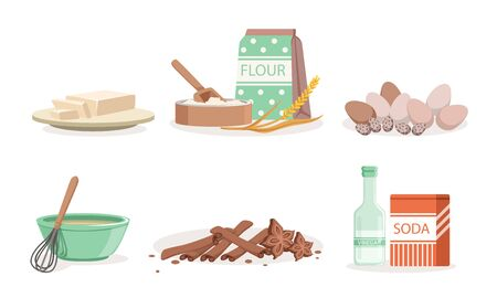 Kitchen Tools And Utensils, Ingredients For Homemade Bakery Vector Illustration Set Isolated On White Background Ilustracja