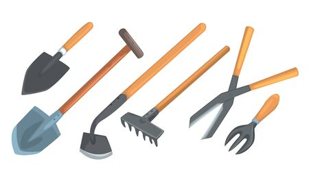 Different Tools And Instruments For Garden Work Vector Illustration Set Isolated On White Background
