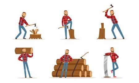Leñador barbudo de personaje de dibujos animados guapo con camisa a cuadros roja hipster y jeans azules. Un hombre posa con un tocón, tala, hacha o sierra. Un trabajador pincha leña y lleva madera