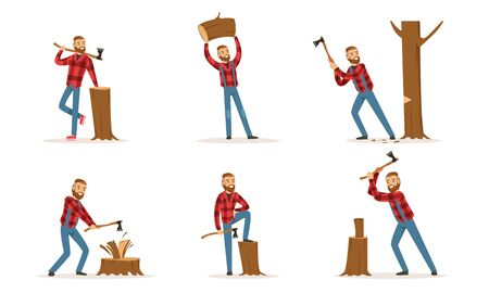 Cartoon character lumberjack in hipster red plaid shirt and blue jeans is chopping wood, standing with an ax, holding a log, posing with a stump