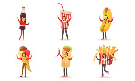 People characters wearing fast food costumes. Man in costume of shawarma with hot chili pepper, hot dog, french fries, ice cream or paper cup with drink and straw. Woman in soda bottle costume