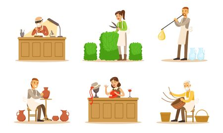 Artisans Of Different Handicraft Professions At Work Vector Illustration Set Isolated On White Background Illustration