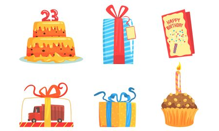 Birthday party items. Celebratory cake and cupcake with a candle, gifts in boxes with blue or red ribbon and with a tag, greeting card, cake in the form of a truck Archivio Fotografico - 133315270