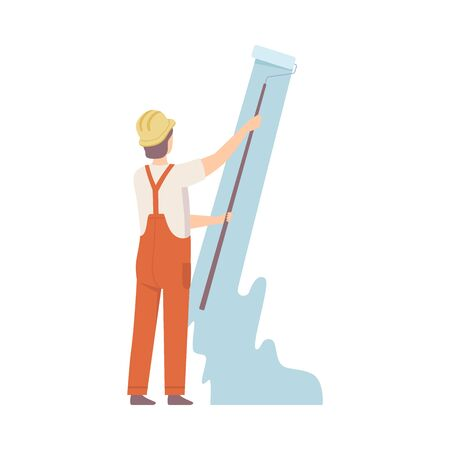 Painter in construction helmet paints the wall with long roller in pastel blue color. Man standing of back, in orange overall. Flat vector illustration, isolated on white background.