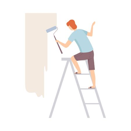 Painter paints the wall with roller, standing on a ladder, from back view. Wearing casual, milky ivory color of wall. Flat vector illustration, isolated on white background. Stock fotó - 133317503