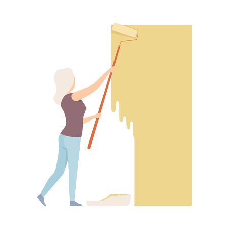 Woman paints the wall with roller in yellow color. Wearing casual. Copy space for designer. Flat vector illustration, isolated on white background.
