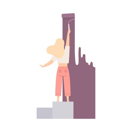 Woman paints the wall with roller in pastel lilac color, standing on pedestal. Wearing casual, standing of her back. Independent girl. Flat vector illustration, isolated on white background.