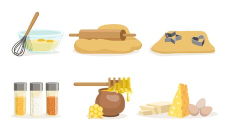 Products, Ingredients And Utensils For Cooking And Baking Vector Illustration Set Isolated On White Background Иллюстрация