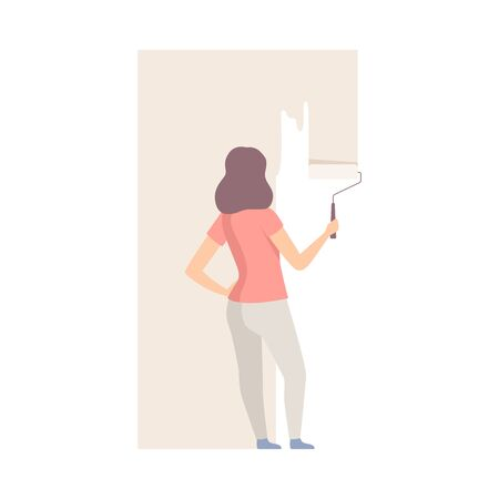 Woman paints the wall with roller in ivory color. Wearing casual. Copy space for any text. Flat vector illustration, isolated on white background.  イラスト・ベクター素材
