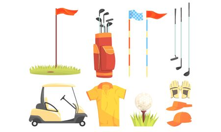 Golf Sport Equipment, Clothes And Game Attributes Vector Illustration Set Isolated On White Background Ilustração