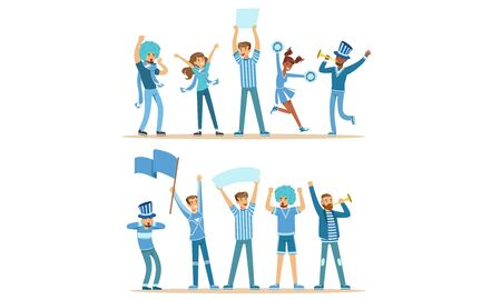 Group Of Fans In Blue Outfits Supporting Their Favorite Sports Team At The Stadium Vector Illustration Set Isolated On White Background