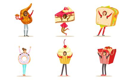 Smiling People Wearing Fast Food And Dessert Costumes For Menu Or Advertising Vector Illustration Set Isolated On White Background