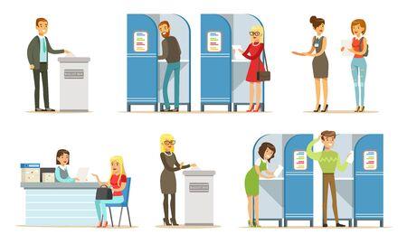 Menschen-Charaktere in der politischen Präsidentschaftswahl und Abstimmungsprozess-Vektor-Illustration-Set isoliert auf weißem Hintergrund Vektorgrafik