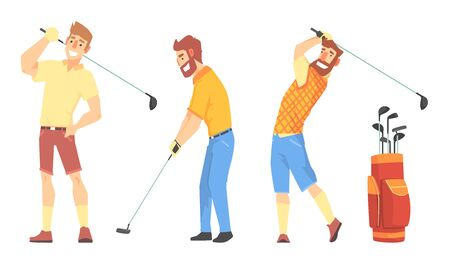 Three Men Characters In Sportswear Playing Golf Vector Illustration Set Isolated On White Background