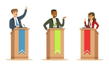 Jóvenes políticos oradores masculinos y femeninos detrás de la tribuna en debates conjunto de ilustración vectorial aislado sobre fondo blanco.