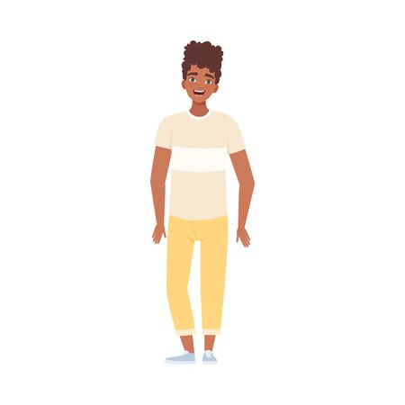 Youngs Afro-American Man Standing And Smiling Flat Vector Illustration Stock Illustratie