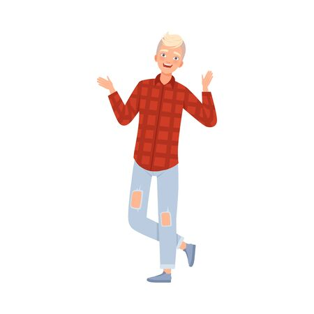 Young Stylish Man Stands And Smiles Hands Up Flat Vector Illustration