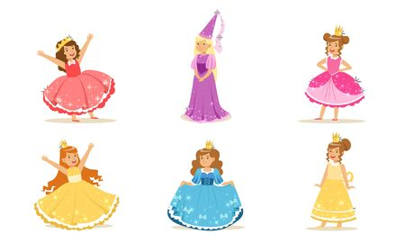 Girls in colorful dresses of princesses. Vector illustration. Stock Illustratie
