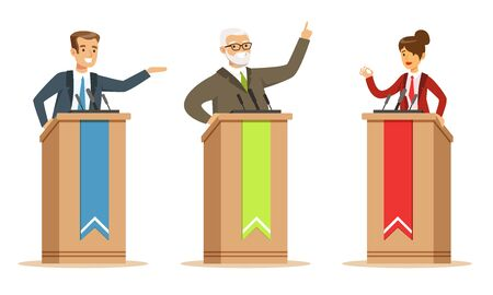 Politician And Candidates Giving A Speech Behind Rostrum In Debates Vector Illustration Set Isolated On White Background